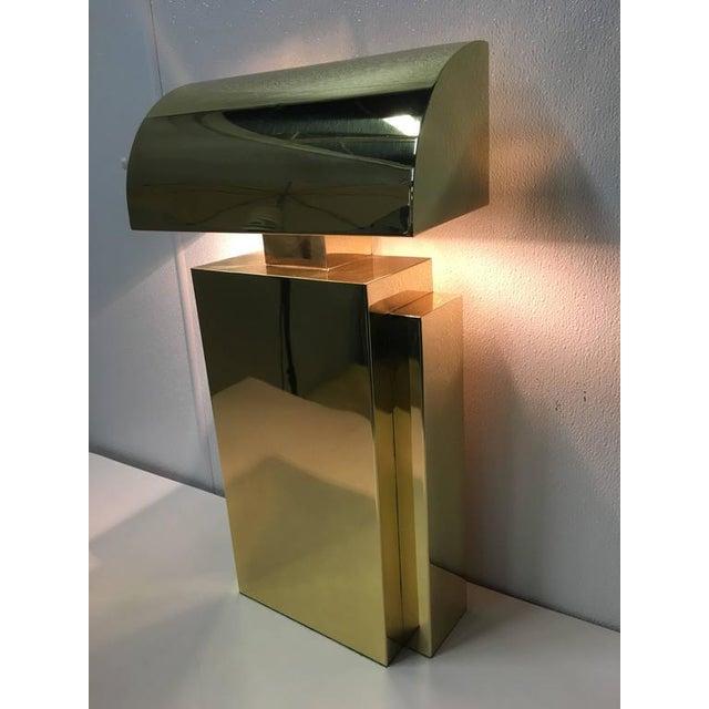 Karl Springer Style Brass Tabel Lamp For Sale - Image 5 of 7