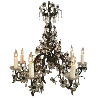 French Crystal Eight Light Floral Motife Chandelier For Sale