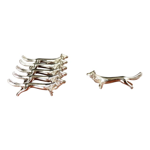 Silver Plated Fox Knife Rests - Set of 6 For Sale