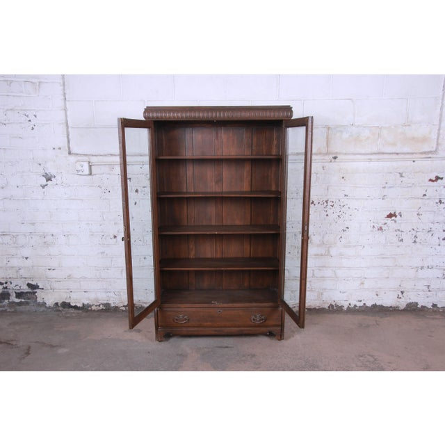 Antique Carved Oak Glass Front Locking Bookcase For Sale - Image 10 of 13