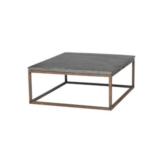 Early 20th Century Belgian Slate Joined With New Iron Coffee Table Base For Sale