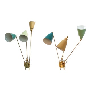 Fedele Papagni Adjustable Wall Sconces Enamel and Brass - a Pair For Sale