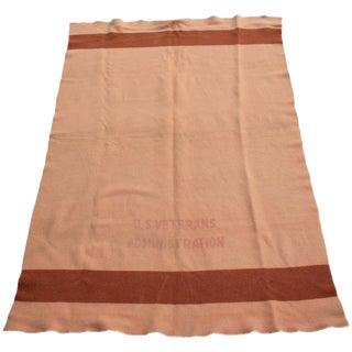 Vintage U.S. Veterans Administration Wool Blanket For Sale