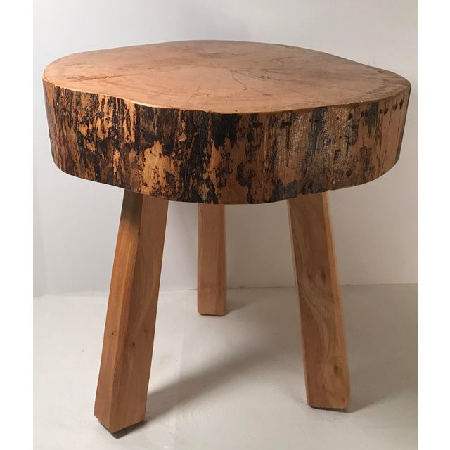 Rustic Vintage Mid Century Wood Butcher Block Stool For Sale - Image 3 of 8