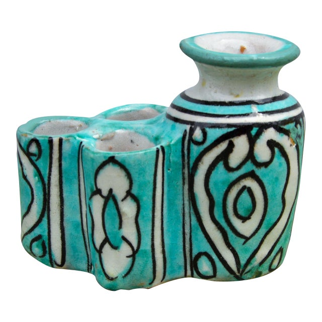Moroccan Ceramic Inkwell & Candle Holder For Sale