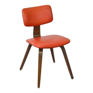 Thonet Mid Century Modern Style Bent Wood & Vinyl Side Chair For Sale