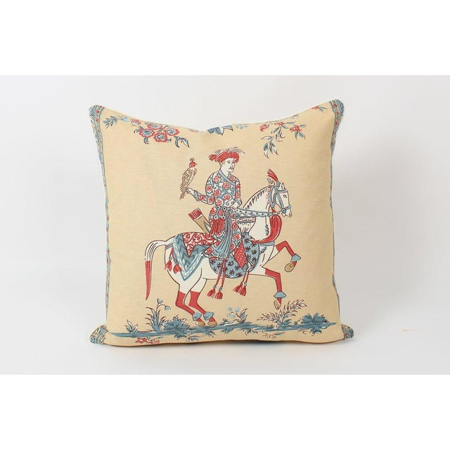 Chinoiserie Chinoiserie Linen Emperor Pillows 22x22 Square, a Pair For Sale - Image 3 of 7