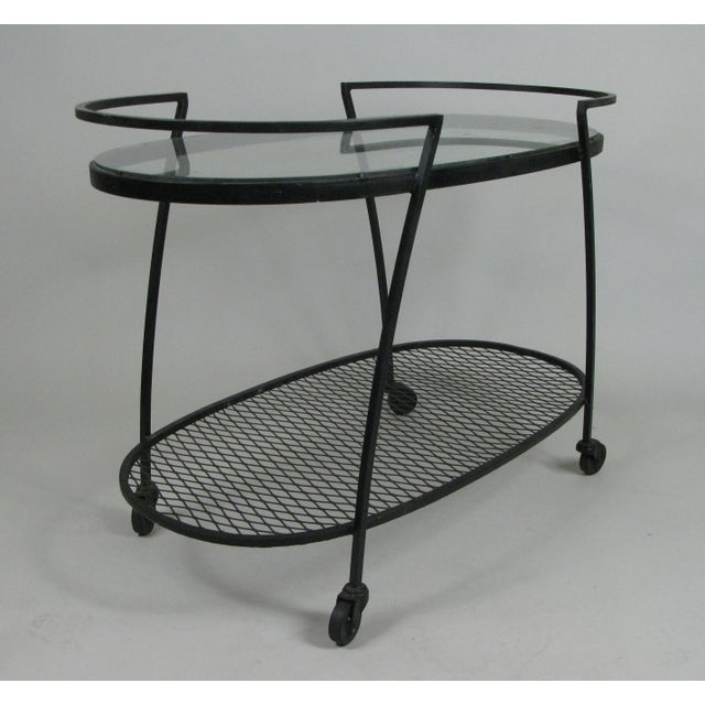 Oval Wrought Iron 'Pinecrest' 1950s Bar Cart by Woodard For Sale In New York - Image 6 of 8