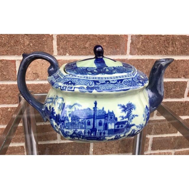 Vintage Flow Blue English Teapot For Sale - Image 10 of 10