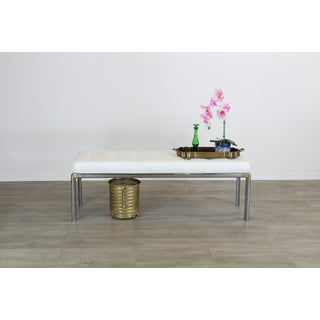 Mid Century Chrome Bench With Linen Cushion Top, Cream Linen Bench, Chrome Bench Preview