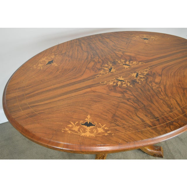 Brown Antique Burl Walnut Victorian Inlaid Oval Parlor Table For Sale - Image 8 of 13