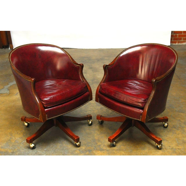 Baker Leather Barrel Back Office Chairs - A Pair - Image 5 of 6