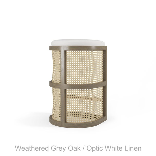 Not Yet Made - Made To Order Isabella Bar Stool - Weathered Grey Oak, Optic White Linen For Sale - Image 5 of 5
