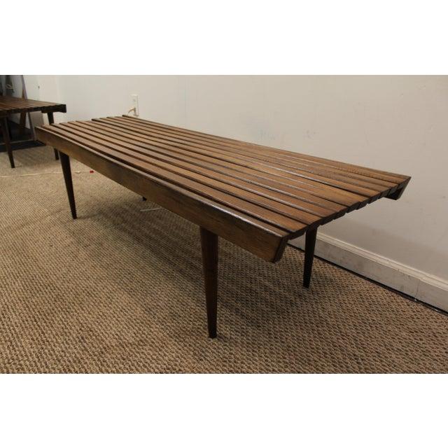 Mid-Century Danish Modern Walnut Slat Bench Coffee Table - Image 6 of 10