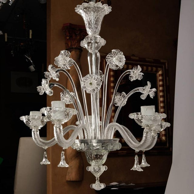 White Venetian Five Light Clear Glass Daffodil Chandelier For Sale - Image 8 of 8