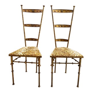 Gold Cheetah Print Giacometti Style Chairs - a Pair For Sale