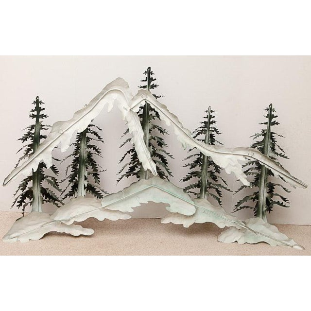 Woodland Scene With Mountains Metal Wall Sculpture For Sale - Image 5 of 9