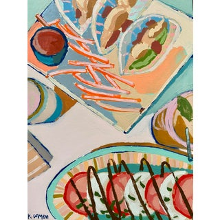 """Neon Fries II"" Contemporary Still Life Acrylic Painting by Kate Comen For Sale"