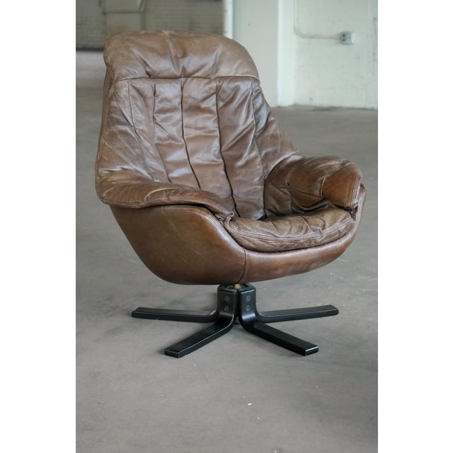 1970s Danish Mid-Century Brown Leather Egg Chair with Ottoman by H. W. Klein For Sale - Image 5 of 13