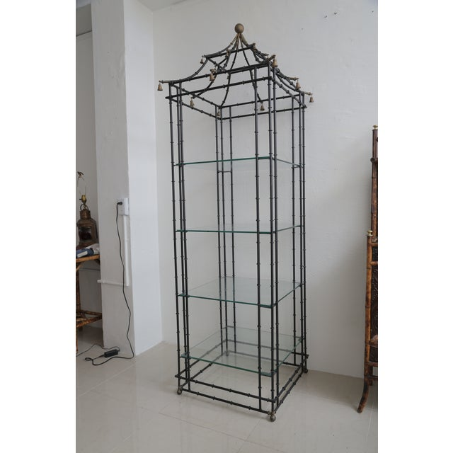 Black Superb Tall Faux Bamboo Metal Pagoda Etagere For Sale - Image 8 of 8