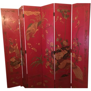 Maitland Smith Red Chinoiserie Screen
