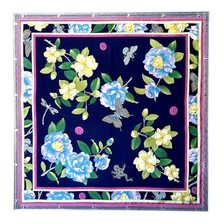 Industrial Style Adrienne Landau Navy Floral Insect Silk Scarf For Sale