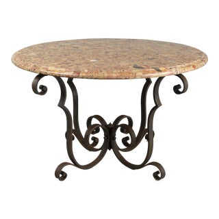 1800s French Art Deco Marble Top Wrought Iron Coffee Table For Sale