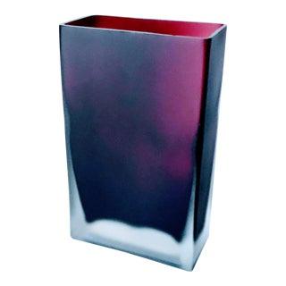 Tapio Wirkkala Scandinavian Mid Century Modern Art Glass Vase Amethyst in Clear Scavo Ice Block, Signed For Sale