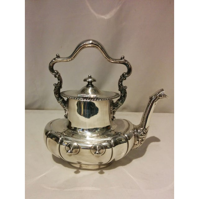 American Silverplate Teapot w/ Stand & Burner - Image 6 of 11