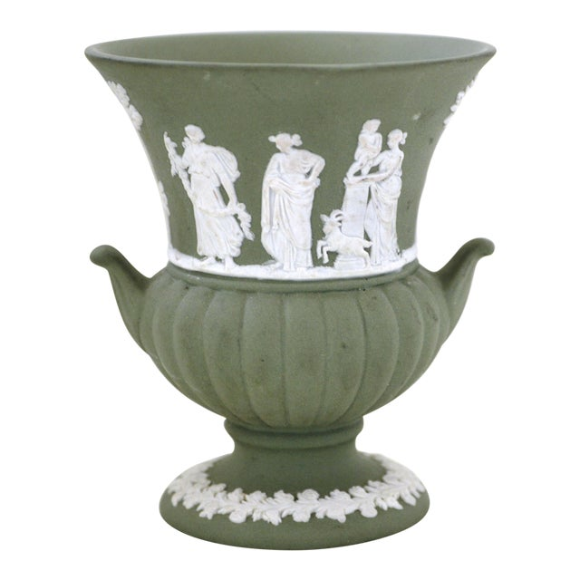 Antique Wedgwood Jasperware Vase White on Green Classic Miniature - Image 1 of 9