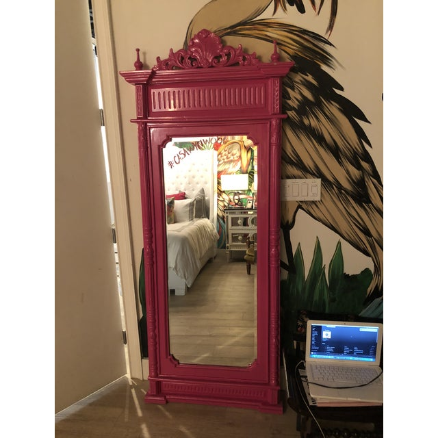 This hand-carved solid mahogany floor mirror is a one of a kind orginal Christi Tasker brand for Gucci. Its shape and...