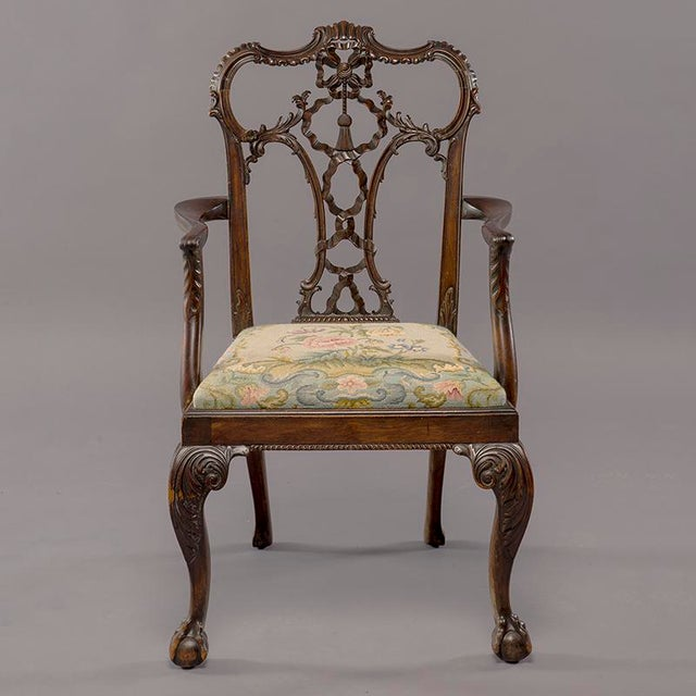 Set 8 19th C Hand Carved Chippendale Tassel Back Dining Chairs For Sale - Image 9 of 13