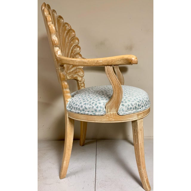 White Pair of Shell Backed Chairs in Leopard Upholstery For Sale - Image 8 of 12