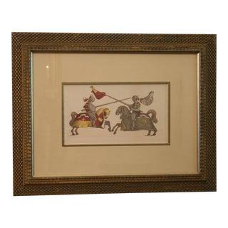 Vintage Giclee Ink Watercolor Jousting Knights Framed Print