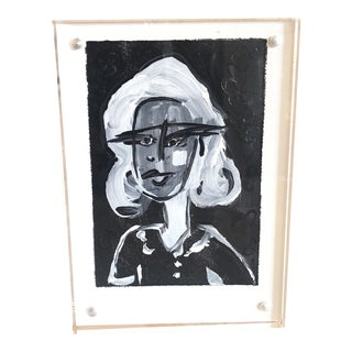 J J Justice Petite Black and White Lucite Framed Painting For Sale
