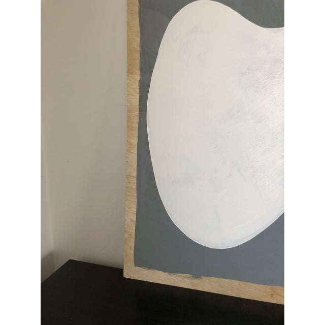 Wood Grey and White Oversized Abstract Acrylic Diptych For Sale - Image 7 of 10