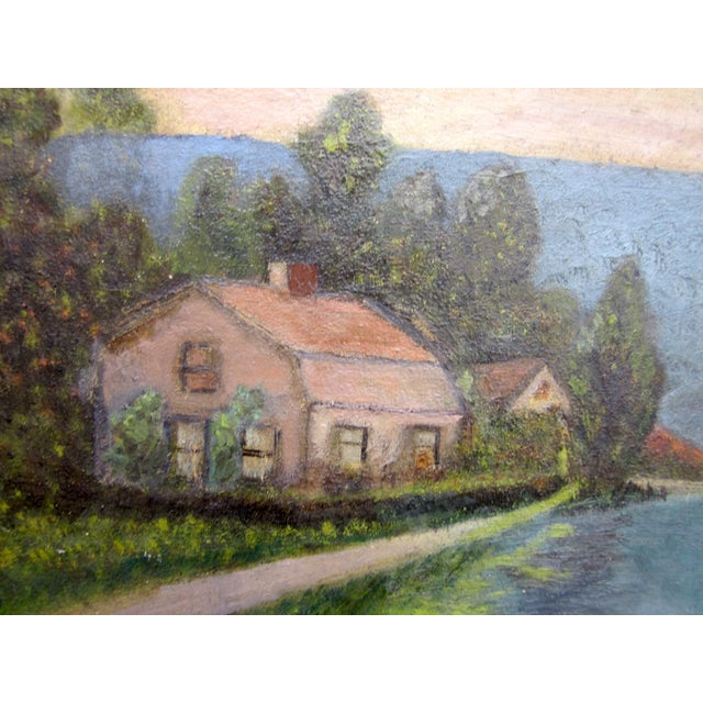 19th Century Antique Outsider Art Rural Landscape Oil on Canvas Painting For Sale - Image 4 of 11
