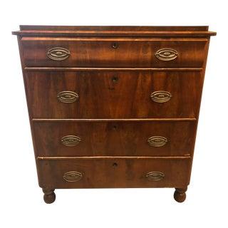 Antique Wood Four Drawer Dresser For Sale