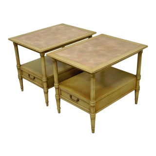 Vintage Drexel Hollywood Regency Leather Top Solid Wood Side End Tables - A Pair For Sale
