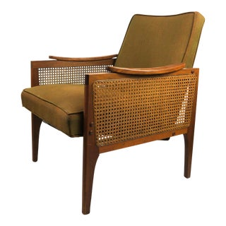 Mid Century Modern Walnut and Cane Sided Club Chair