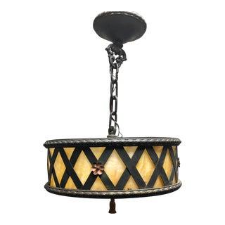 Antique Arts & Crafts Tole Slag Glass Chandelier Pendant Light For Sale