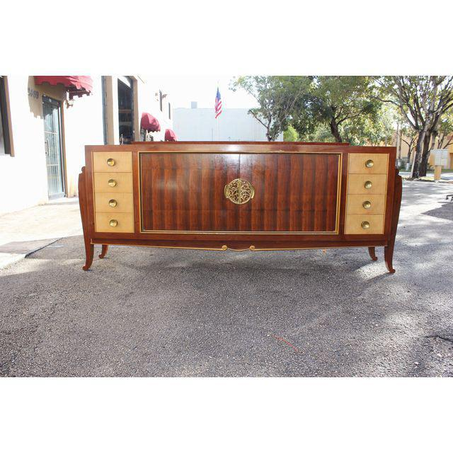 Spectacular French Art Deco Palisander And Sycamore Sideboard / Credenza Circa 1935s For Sale - Image 5 of 11