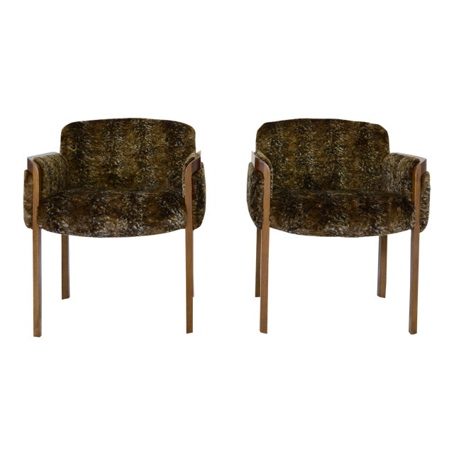 1960's Faux Fur Side Chairs - A Pair For Sale