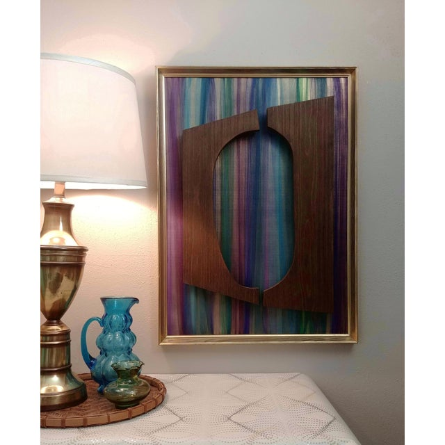 Contemporary mixed media fabric and wood wall installation Witco style framed multi color fabric + wood wall sculpture is...