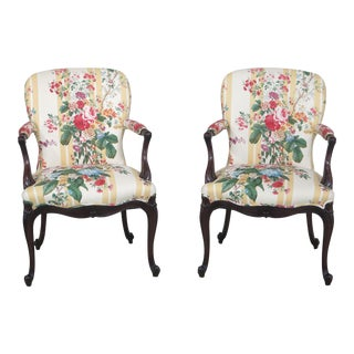 Vintage French Style Mahogany Upholstered Open Arm Chairs