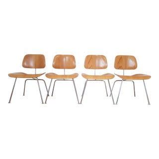 1980s Vintage Herman Miller Chrome and Ash Dcm Chairs- Set of 4 For Sale