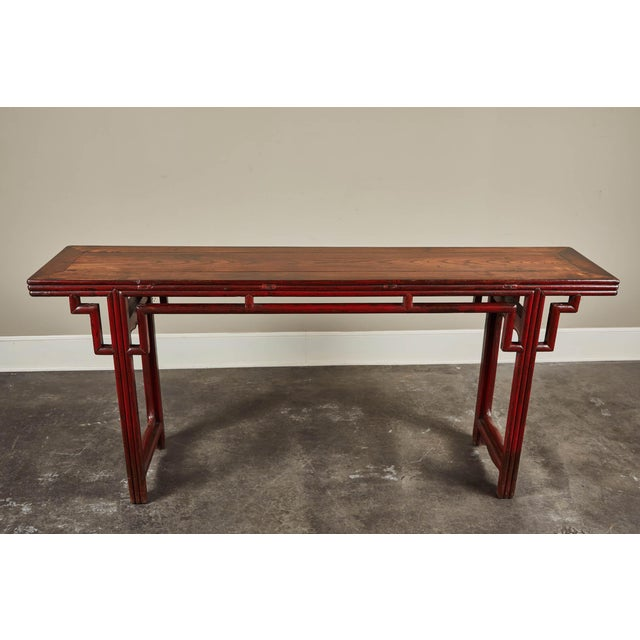 18th C. Chinese Red Lacquer Elm Altar Table For Sale - Image 4 of 9