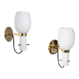 1950s Italian Brass and Glass Sconces Attributed to Stilnovo - a Pair For Sale