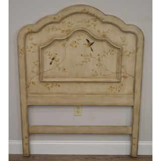 French Style Painted Twin Size Headboard With Flower Trees and Birds Preview
