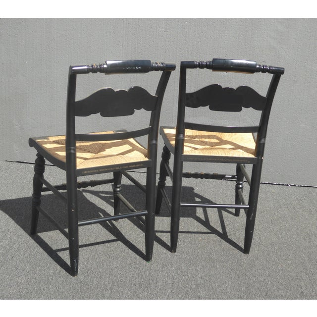 1950s Vintage Pair of L. Hitchcock Federal Black Eagle Chairs With Rye Seats For Sale - Image 5 of 11